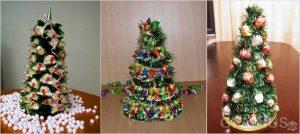 elki iz konfet 300x134 - Новогодние ёлочные игрушки своими руками