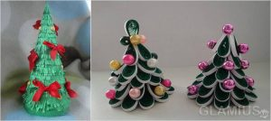 mini elochki 300x134 - Новогодние ёлочные игрушки своими руками