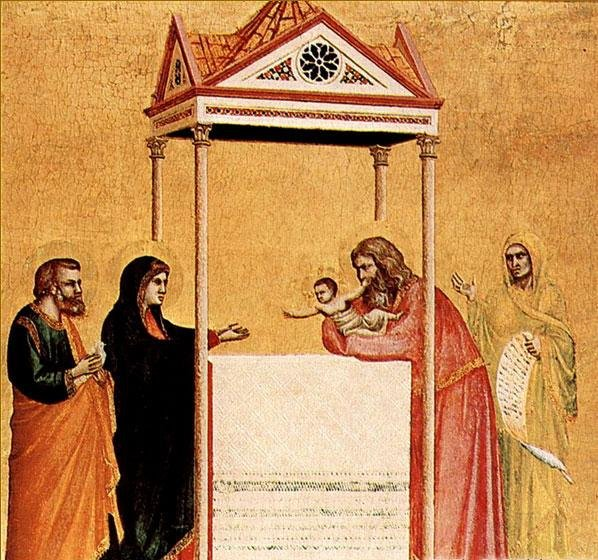 Рис. 23. Джотто ди Бондоне - Сретение, Алтарный образ, 1320-1325 гг., Бостон, музей Гарднера.JPG