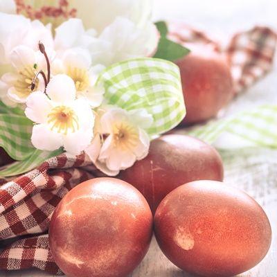 Яйца, крашенные веточками или корой вишни