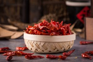 bowl full hot peppers - Жареный корень лопуха