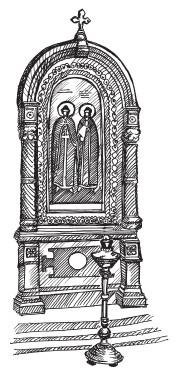 Лампада-подсвечник у храмового образа