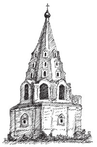 Восьмигранная шатровая колокольня Троицкого Данилова монастыря, XVII в. Кострома