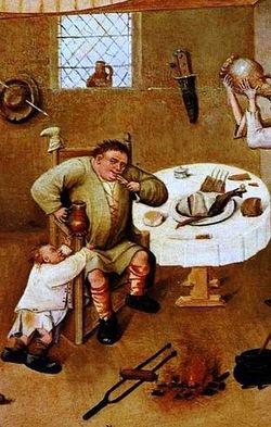 Иероним Босх. Семь смертных грехов 1475-80 гг. Фрагмент